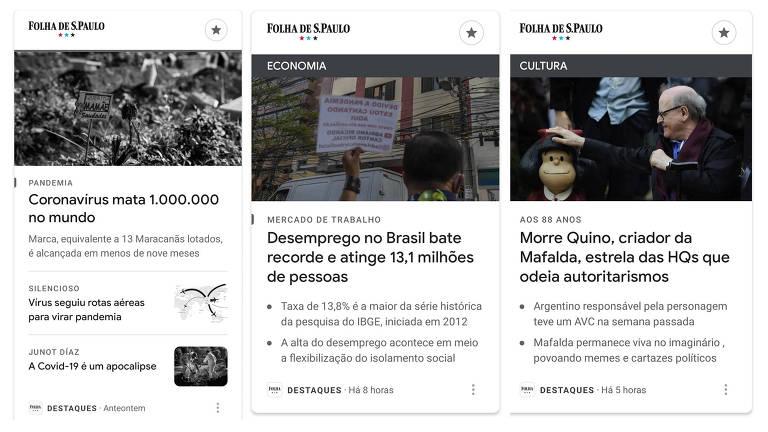 Manchetes sobre coronavírus e Mafalda