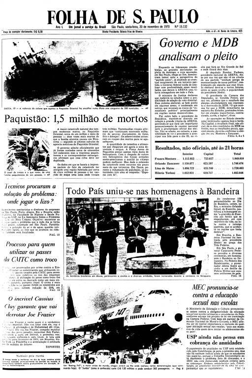 Primeira Página da Folha de 20 de novembro de 1970