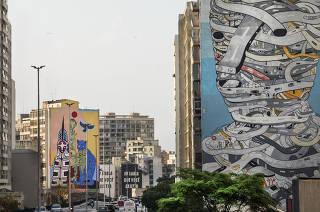 Guia da FOLHA: Roteiro de Grafites. Novo grafite denominado Pindorama -do artista  Rimon Guimaraes -  em predio ao lado do Minhocao  na altura do Largo do Arouche. Grafite foi produzido com uma tinta fotocatalitiica que ajuda a limpar