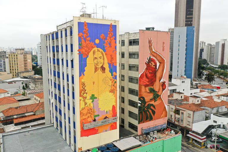 As obras de Gleo (esq.) e Pri Barbosa, que fazem parte do Festival Nalata