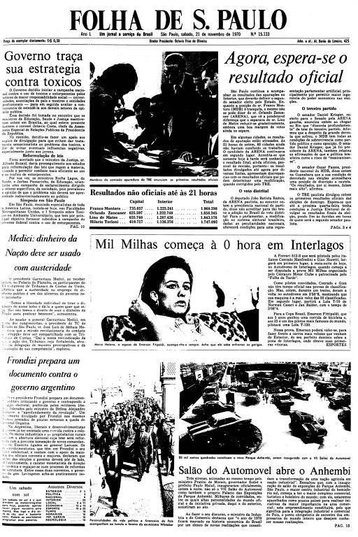 Primeira Página da Folha de 21 de novembro de 1970