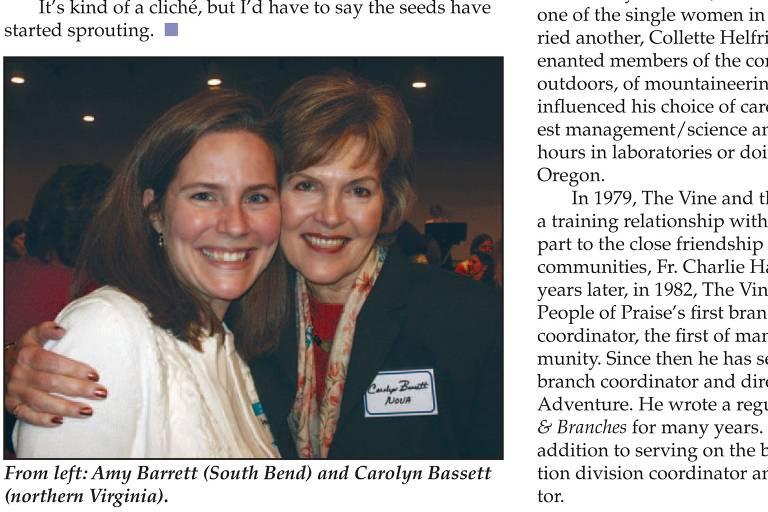 Página de edição de maio de 2006 da revista Vine and Branches mostra Amy Coney Barrett, à esq., em conferência para mulheres de líderes da People of Praise