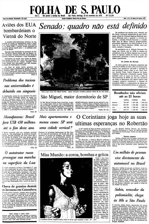 Primeira Página da Folha de 22 de novembro de 1970