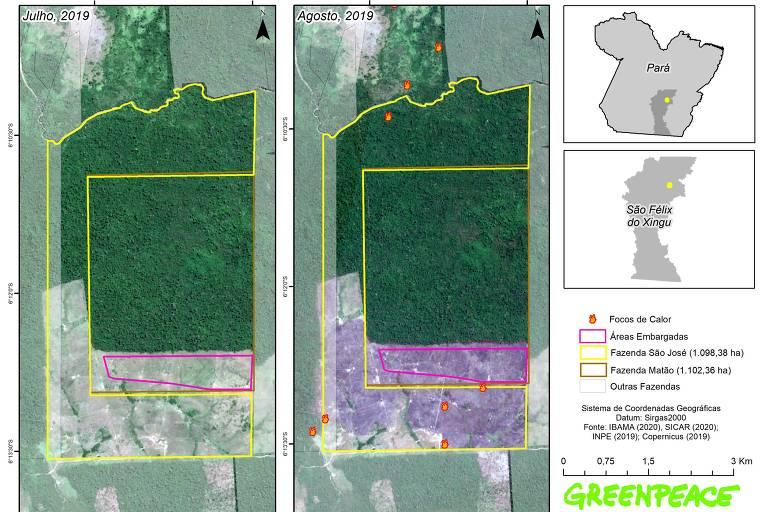 Imagem de satélite apontam focos de queimada na fazenda São José, fornecedora direta da JBS e que também fornecia para a Marfrig
