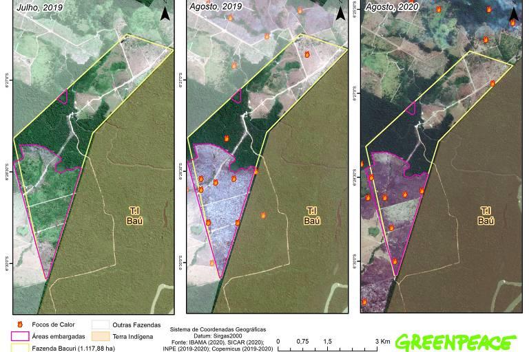 Imagem de satélite aponta os pontos de fogo em diferentes momentos na fazenda Bacuri, no Pará