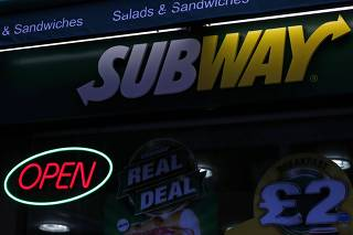 A Subway sandwich store is seen in central London