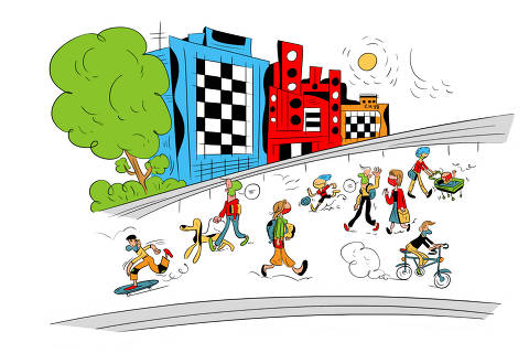 Ilustração para caderno de mobilidade urbana - Desafio das boas práticas