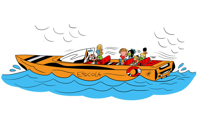 Ilustração para caderno de mobilidade urbana - Desafio das águas