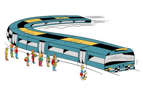 Ilustração para caderno de mobilidade urbana - Desafio dos trilhos