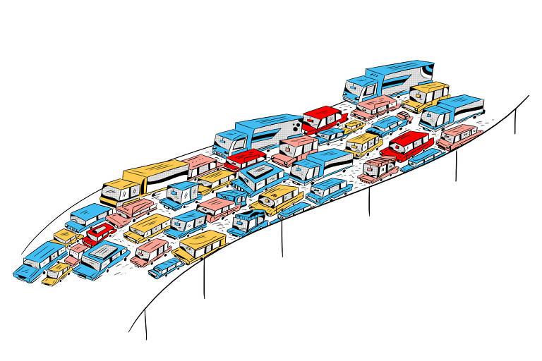 Ilustração para caderno de mobilidade urbana com carros aglutinados passando por uma ponte