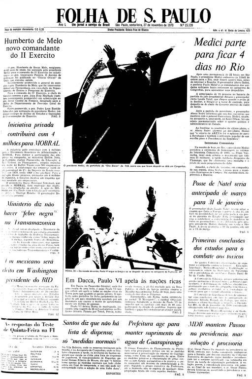 Primeira Página da Folha de 27 de novembro de 1970