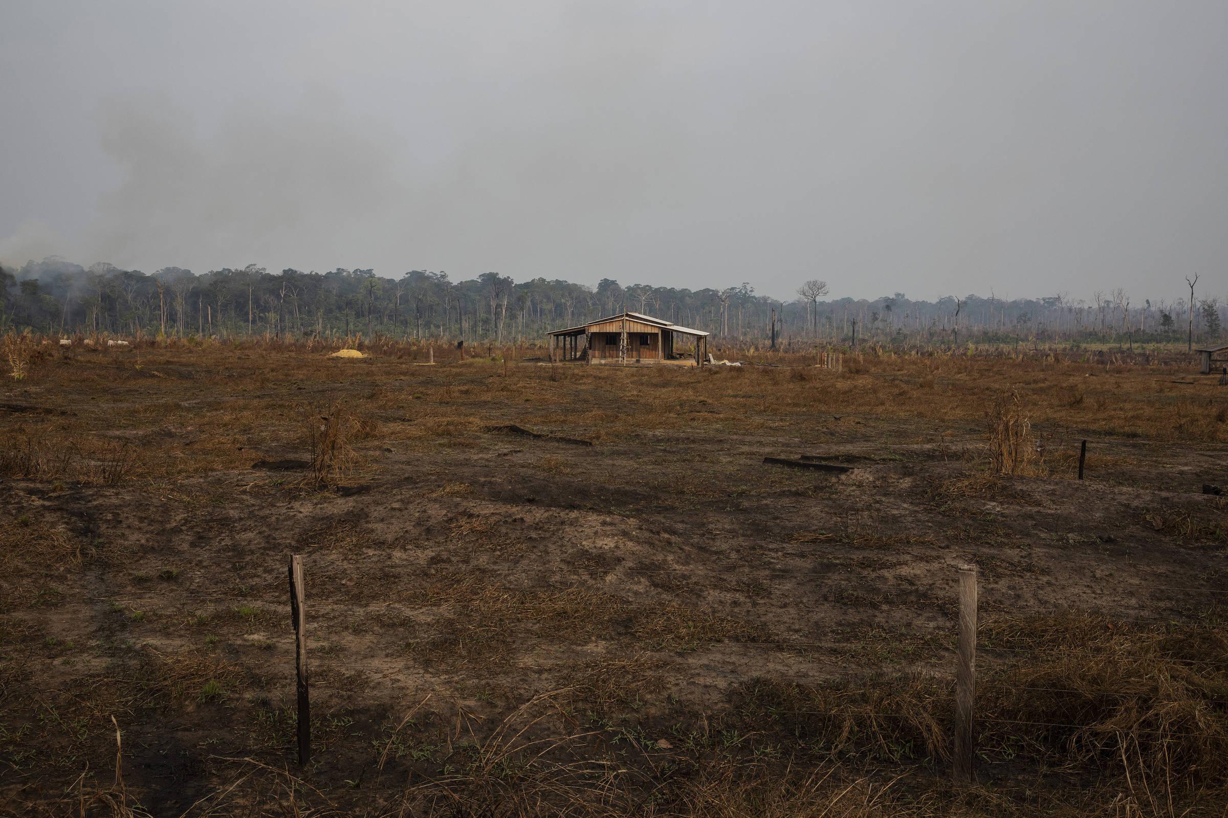 Casa em construção em fazenda às margens da rodovia Transamazônica, na zona rural de Apuí, no sul do Amazonas