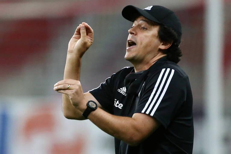 O técnico Fernando Diniz durante partida do São Paulo contra o Internacional