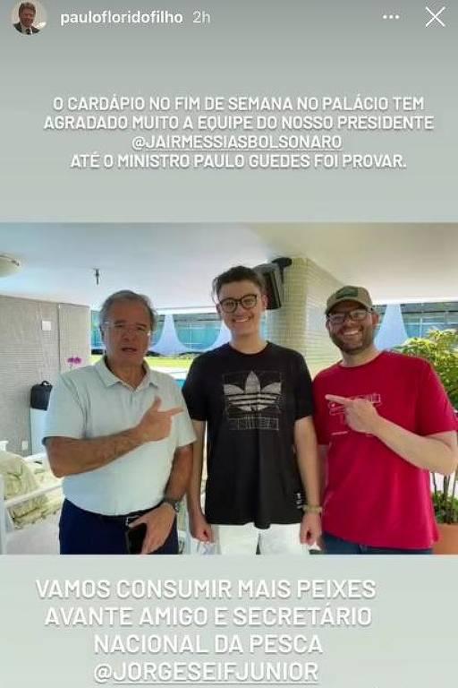 Postagem no Instagram de empresário faz referência ao almoço entre o presidente Jair Bolsonaro e o ministro Paulo Guedes (Economia) no Palácio da Alvorada, neste sábado (3)