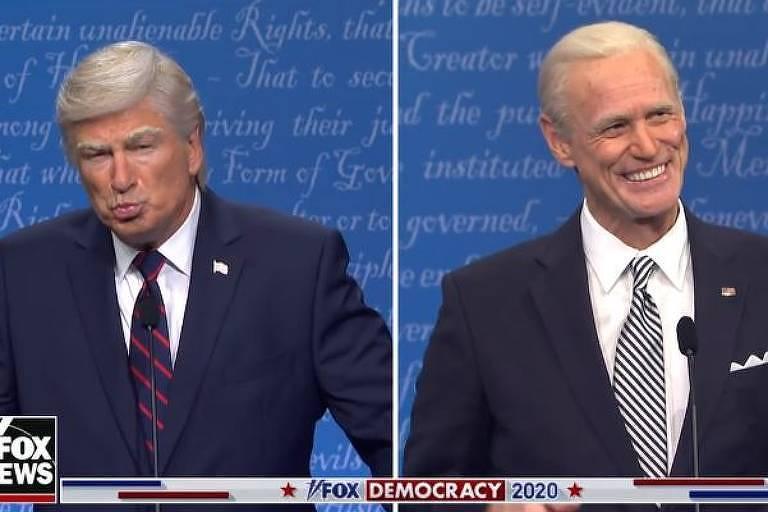 Alec Baldwin e Jim Carey imitam Trump e Biden no Saturday Night Live