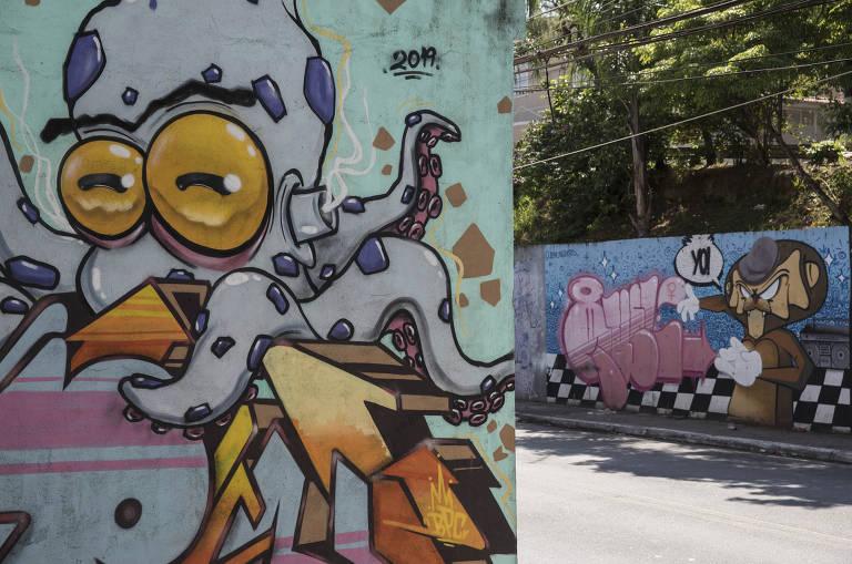 Grafites na zona norte de SP que fazem parte do Museu de Arte da Rua, iniciativa de Doria quando prefeito
