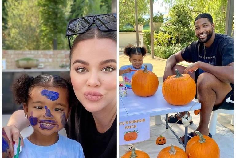 Khloe Kardashian e Tristan Thompson passam o final de semana em família