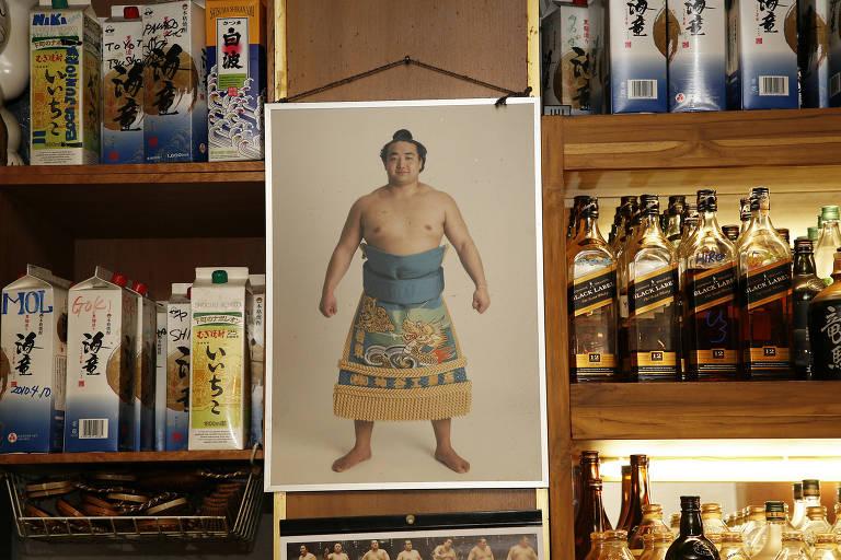 Detalhes do restaurante Kinboshi na Liberdade do ex-lutador de sumô Fernando Kuroda