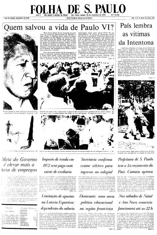Primeira  Página da Folha de 28 de novembro de 1970