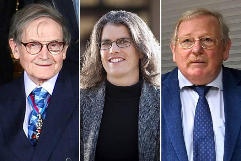 Os laureados em Física de 2020, da esquerda para direita: Roger Penrose, Andrea Ghez e Reinhard Genzel