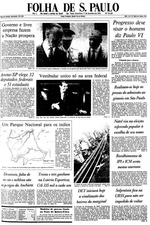 Primeira Página da Folha de 1º de dezembro de 1970