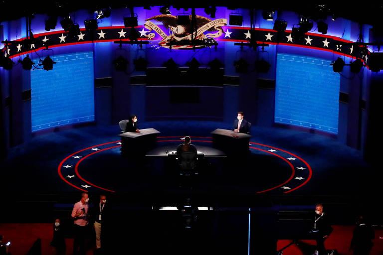 Palco onde será realizado o debate entre Mike Pence e Kamala Harris na Universidade de Utah, em South Lake City