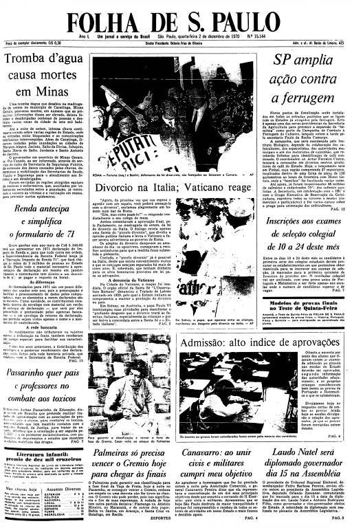 Primeira Página da Folha de 2 de dezembro de 1970