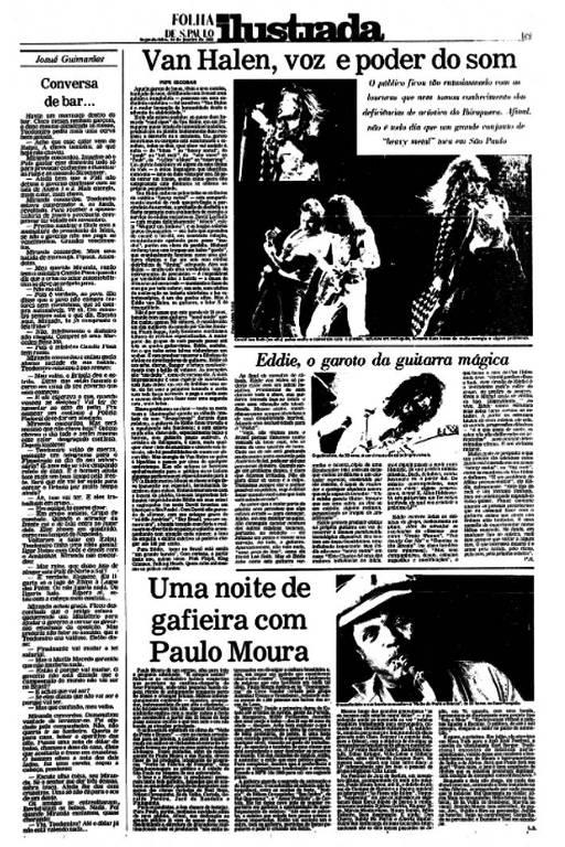 "Página de jornal. No título está escrito ""Van Halen, voz e poder do som"""