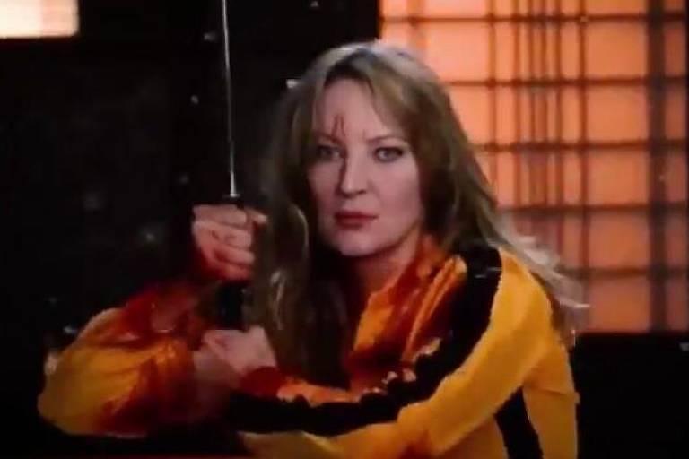 Frame de vídeo publicado nas redes de Joice Hasselmann (PSL) tem o rosto na candidata no corpo de personagem do filme Kill Bill