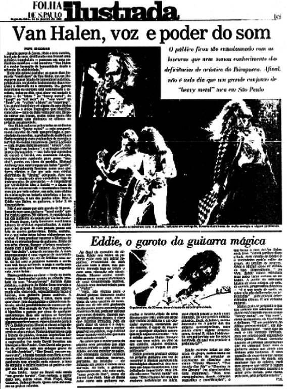"""Imagem mostra página de jornal; na manchete está escrito """"Van Halen, voz e poder do som"""""""
