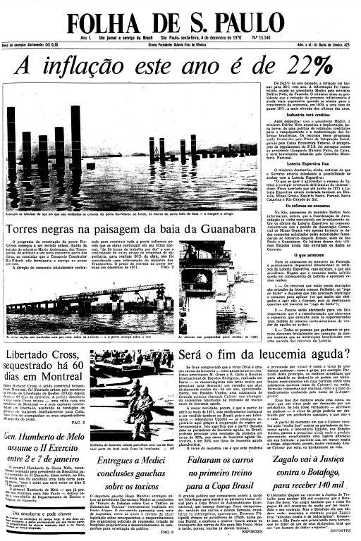 Primeira Página da Folha de 4 de dezembro de 1970