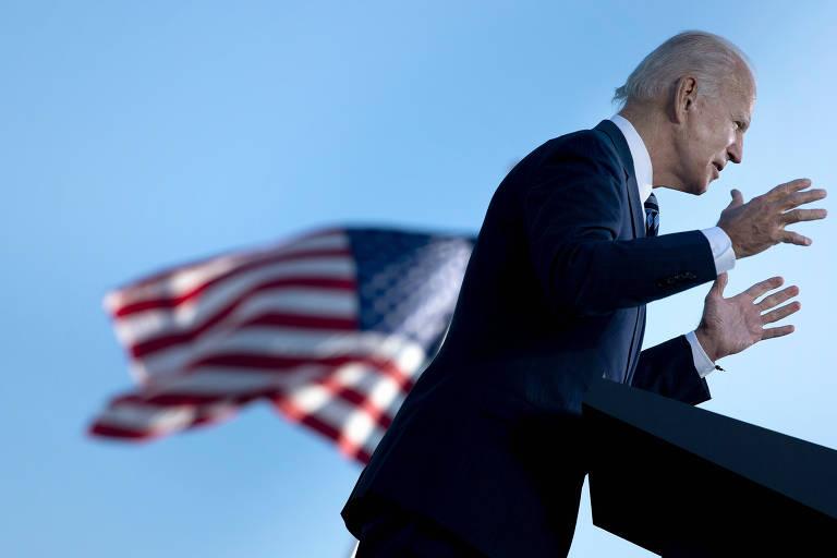 O ex-vice-presidente dos EUA e candidato nesta eleição, Joe Biden, discursa em Gettysburg, na Pensilvânia