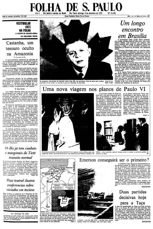 Primeira Página da Folha de 6 de dezembro de 1970