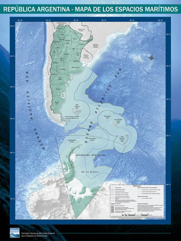 Novo mapa dos espaços marítimos argentinos, que será distribuído para escolas do país
