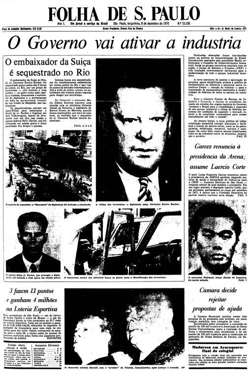 Primeira Página da Folha de 8 de dezembro de 1970