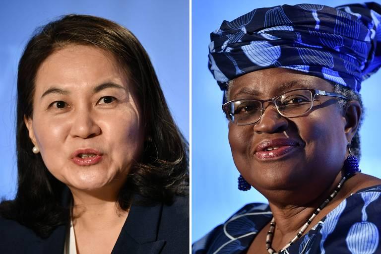 A sul-coreana Yoo Myung-hee, à esquerda, e a nigeriana Ngozi Okonjo-Iweala; OMC vai escolher qual das candidatas deverá substituir o brasileiro Roberto Azevêdo no comando da entidade
