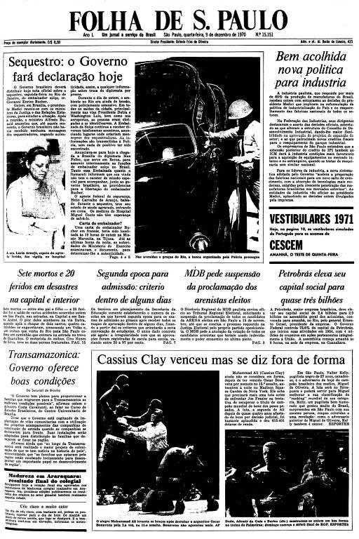 Primeira Página da Folha de 9 de dezembro de 1970