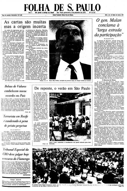 Primeira Página da Folha de 10 de dezembro de 1970