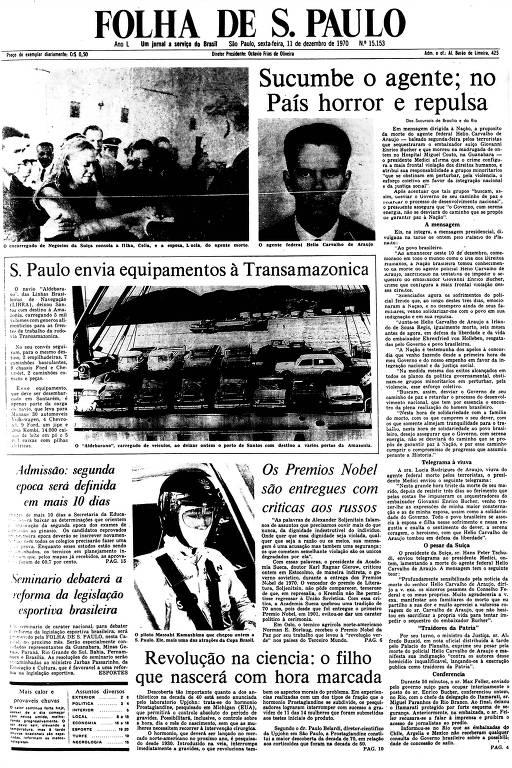 Primeira Página da Folha de 11 de dezembro de 1970