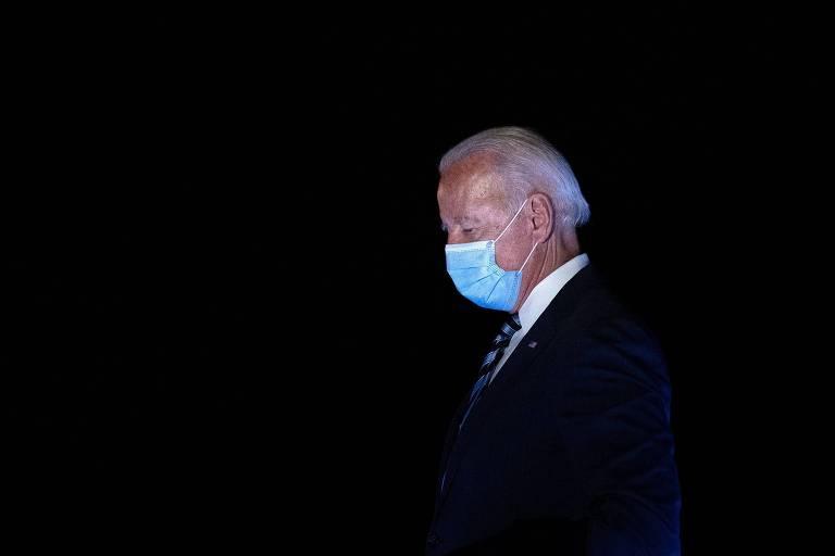 O candidato democrata Joe Biden ao chegar a New Castle, no estado de Delaware