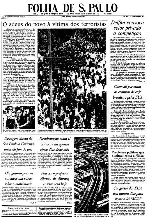 Primeira Página da Folha de 12 de dezembro de 1970