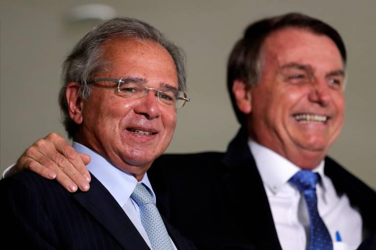 Ministro da Economia, Paulo Guedes, e o presidente Jair Bolsonaro