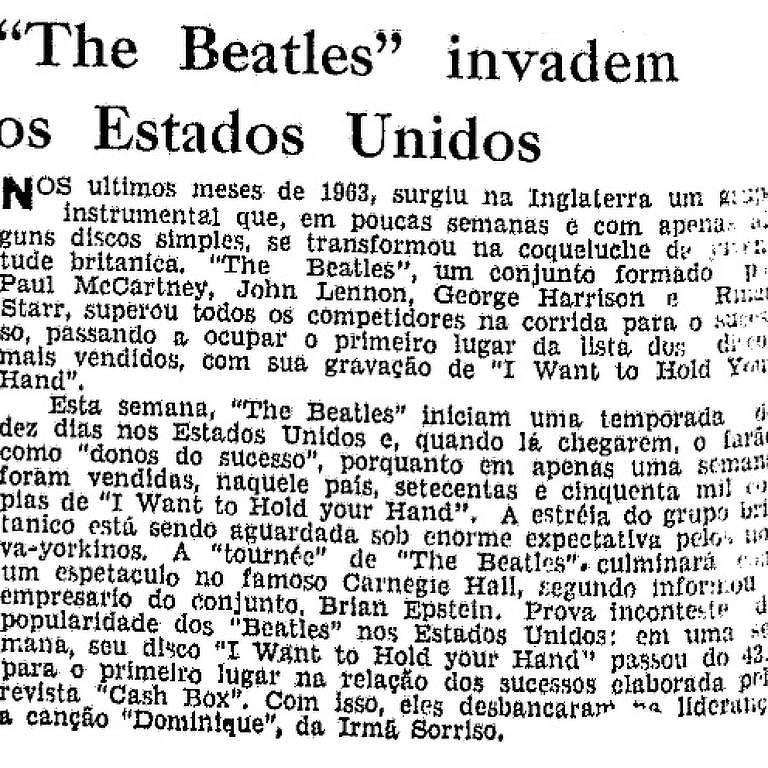 Reprodução Folha Beatles 1964