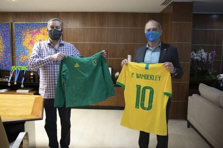 Rogério Caboclo recebeu Paulo Wanderley, presidente do COB e então candidato à reeleição, no fim de agosto