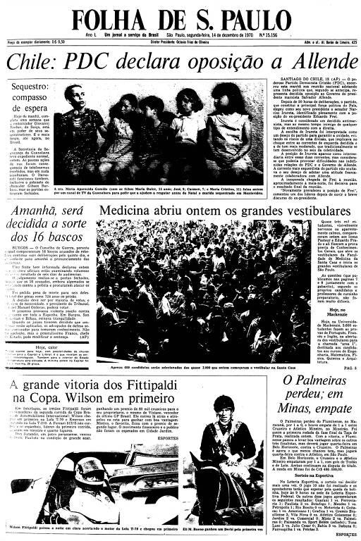 Primeira Página da Folha de 14 de dezembro de 1970