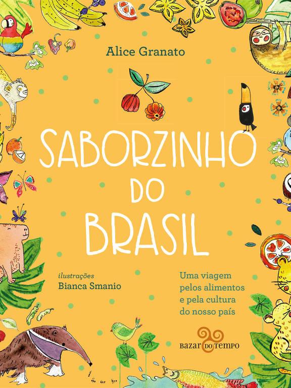 Capa do livro com ilustração de animais, frutas, folhas.