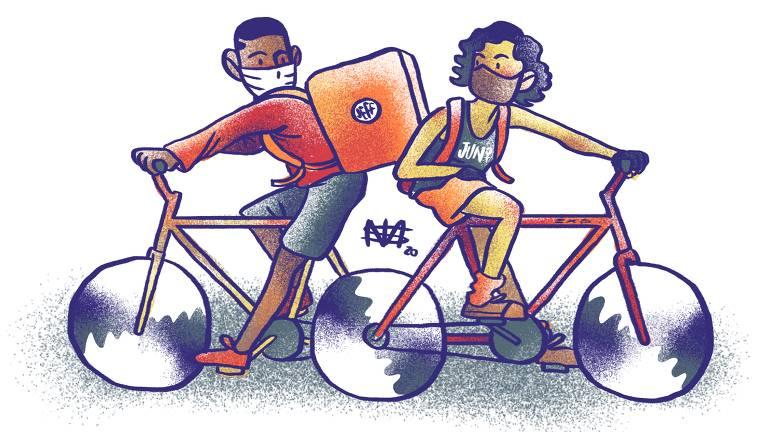 desenho mostra um homem e uma mulher em cima de suas bicicleta