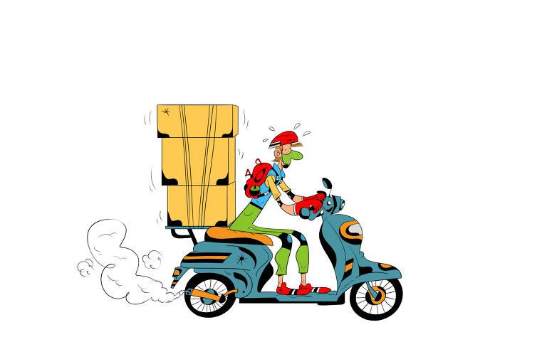 Ilustração para caderno de mobilidade urbana - Desafio das motocicletas