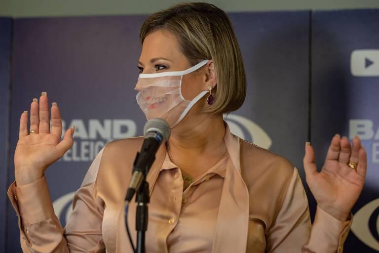 Joice Hasselmann (PSL) participa de debate entre candidatos à prefeitura de São Paulo na Band