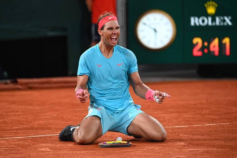 Rafael Nadal após vencer Novak Djokovic com autoridade na final de Roland Garros
